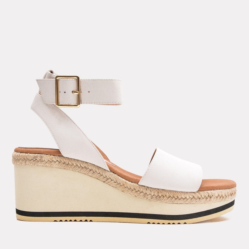 Sandal - Petra Leather Sandal Wedge (White)