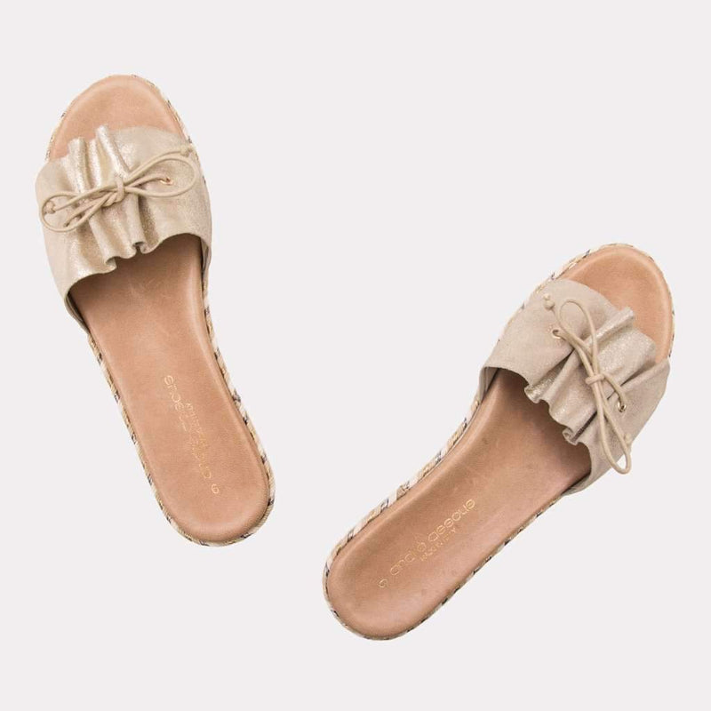Sandal - Sariah Metallic Leather Sandal (Soft Gold Metallic)