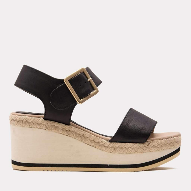 Wedge - Carmela Nappa Sandal (Black)