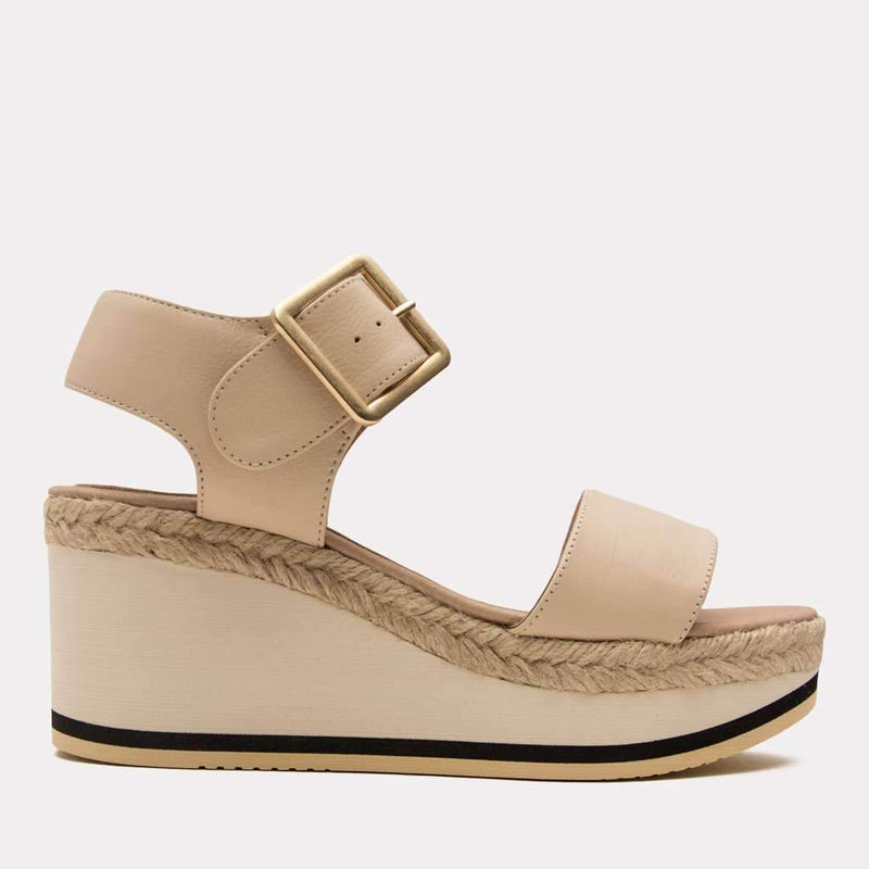 Wedge - Carmela Nappa Sandal (Cream)