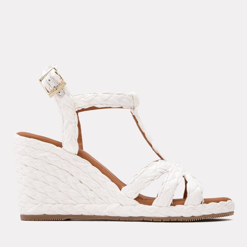 Wedge - Madina Raffia Sandal Wedge (White)
