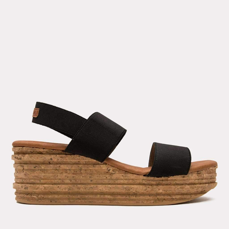 Wedge - Nieta Elastic Sandal (Black)
