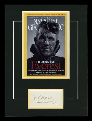 Sir Edmond Hillary Autographed Display