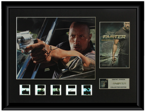 Faster Autographed Film Cell Display (Dwayne Johnson)