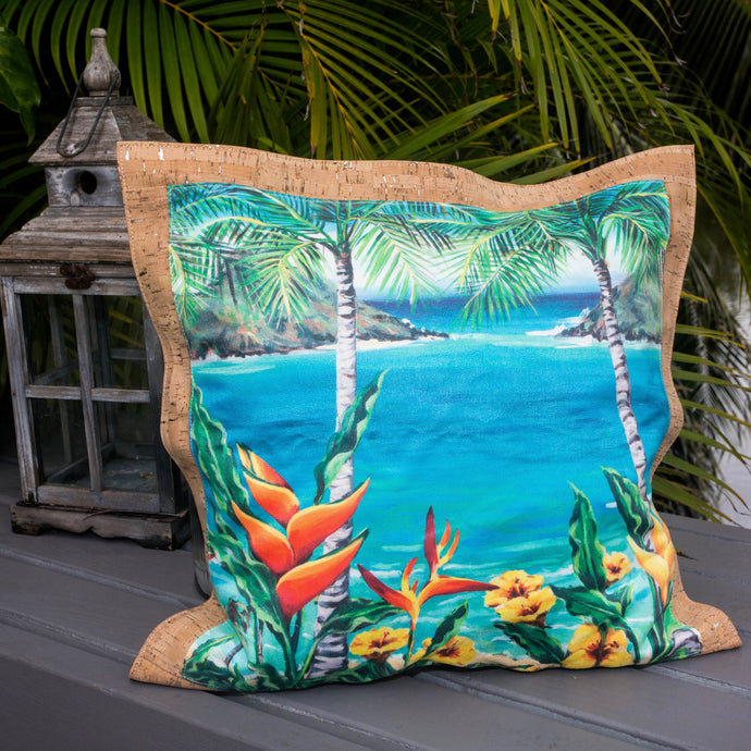 holiday gift christmas shop bliss collective bags 'olu'olu by Bliss Hawaii Heliconia Heaven pillow with original art from Hawaii