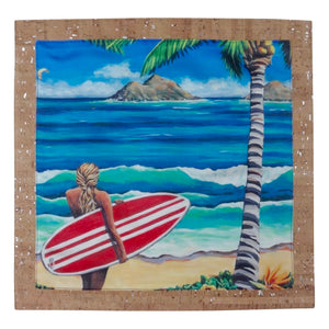'olu'olu surfer girl, surfing, pillow, home goods, hawaii, luxury, lanikai, cork, susanne ball