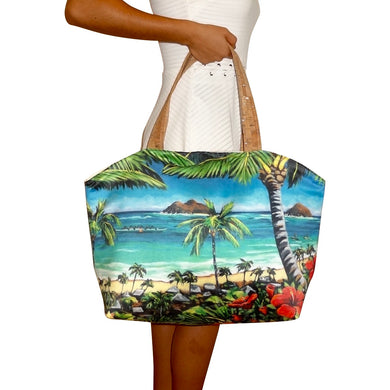 Bliss Hawaii, tote bag, beach bag, Mokulua islands, purse, paddling, hawaii, vegan, handbag, luxury, kailua, lanikai, cork, susanne ball