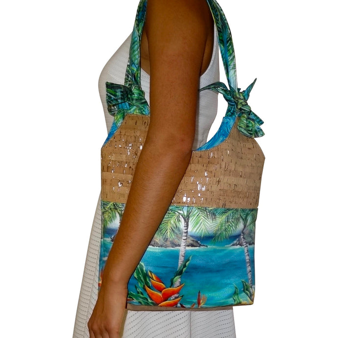 cork bag cork handbag tropical bag tropical handbag bliss collective bags 'olu'olu Bliss Hawai, knotted, handbag, Mokulua islands, hawaii, vegan, handbag, luxury, kailua