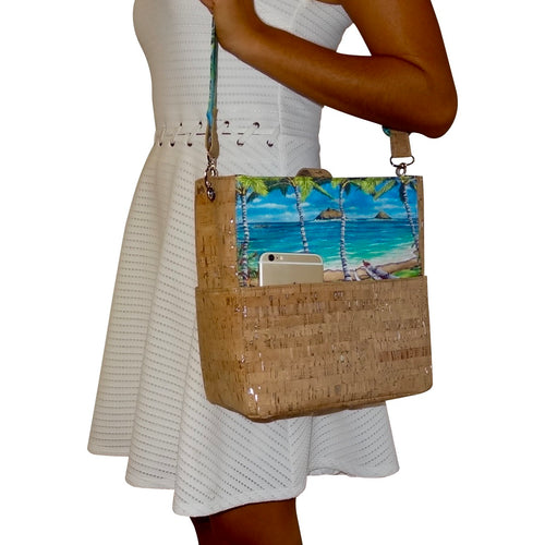 cork bag cork handbag tropical bag tropical handbag bliss collective bags Bliss Hawaii, vegan, handbag, purse, hawaii, vegan, handbag, luxury, kailua, lanikai, cork