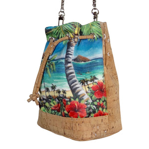 Bliss Hawaii, baby bucket bag, bucket bag, micro bucket bag, Mokulua islands, purse, paddling, hawaii, vegan, handbag, luxury, kailua, lanikai, cork, susanne ball