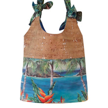 cork bag cork handbag tropical bag tropical handbag bliss collective bags Bliss Hawaii luxury hobo bag with sustainable cork fabric and original art from hawaii