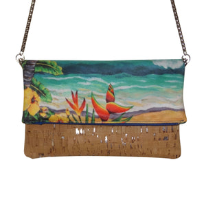 cork bag cork handbag tropical bag tropical handbag bliss collective bags 'olu'olu by Bliss Hawaii, cross body, hawaii, vegan, handbag, luxury, kailua, lanikai, cork