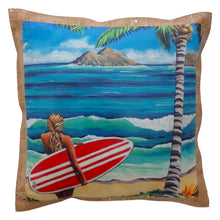 surfer girl pillow with original art from hawaii and cork fabric trim