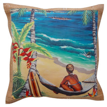Bliss Hawaii swing time pillow with original art and sustainable cork fabric, luxury decor