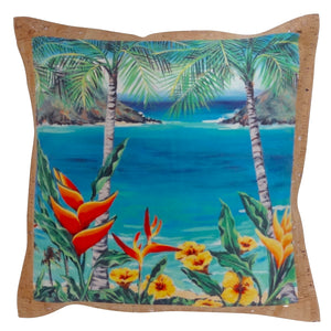 'olu'olu by Bliss Hawaii Heliconia Heaven pillow with vegan cork fabric from Portugal