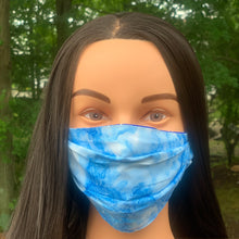 tie dye mask blue cotton washable mask made in the USA