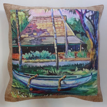 bliss collective bags oluolu by Bliss Hawaii luxury pillows with art from Hawaii and cork leather