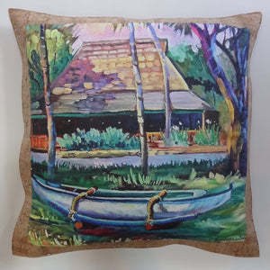 oluolu by Bliss Hawaii luxury pillows with art from Hawaii and cork leather