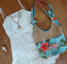 cork bag cork handbag tropical bag tropical handbag Blue Floral Why Knot? Hobo Bag - Bliss Hawaii
