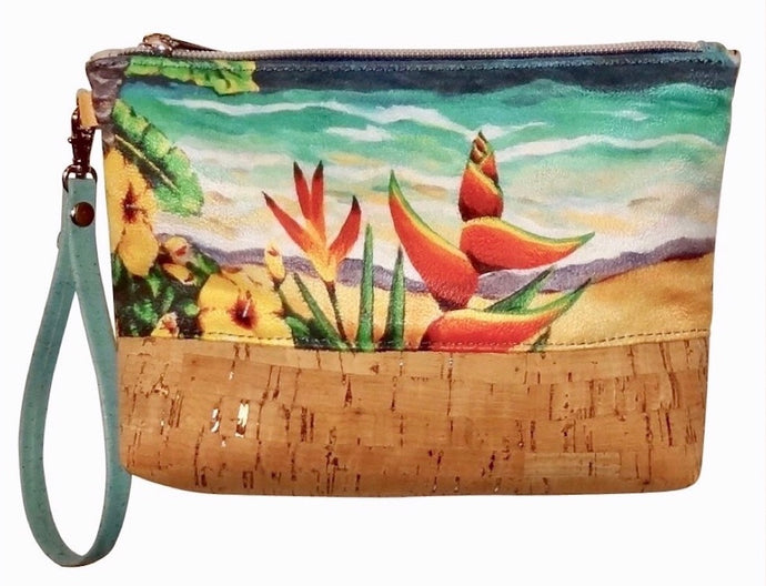 cork bag cork handbag tropical bag tropical handbag bliss collective bags Heliconia Wristlet Pouch - Bliss Hawaii