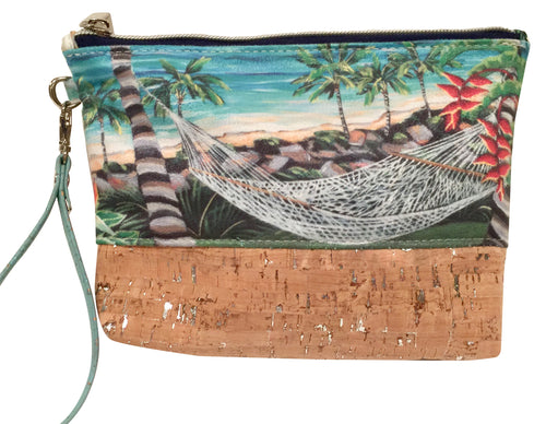 cork bag cork handbag tropical bag tropical handbag bliss collective bags Lanikai Hammock Wristlet Pouch - Bliss Hawaii