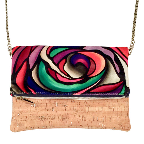 cork bag cork handbag tropical bag tropical handbag Bliss Blooms Cuban art Bliss Hawaii Cork tropical crossbody handbag Wild Flower
