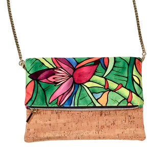 cork bag cork handbag tropical bag tropical handbag Bliss Blooms Cuban art Bliss Hawaii Cork tropical crossbody handbag Banana Platano Flower