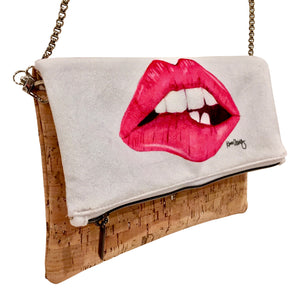 Cork fabric crossbody handbag with fashion illustration by Kara Ashley