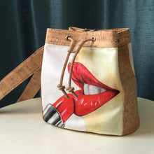 Bliss Collective cork handbag lipstick art illustration bucket bag