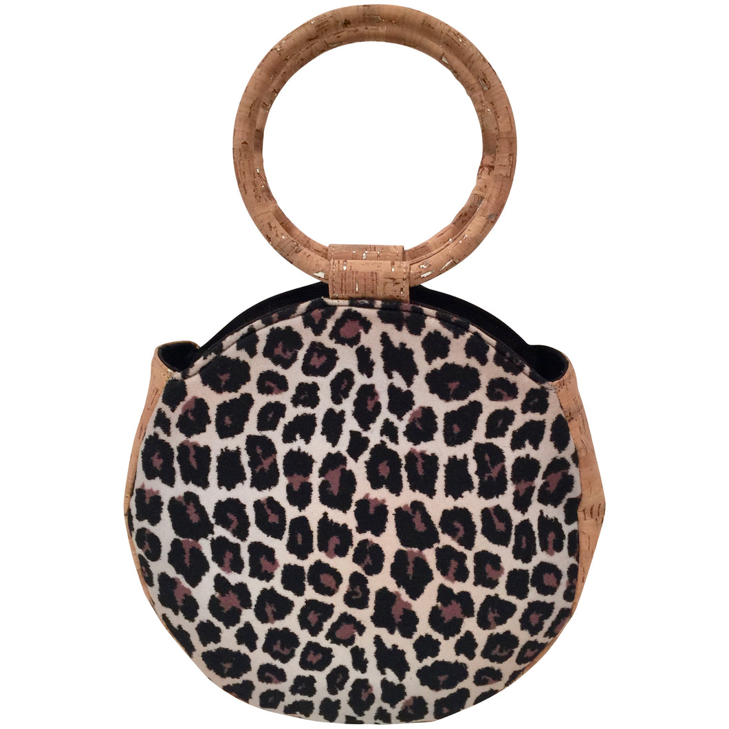 Kiss My Bliss, Cork Handbag, art, Round Bag, hand made, wearable art