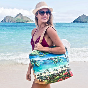 bliss collective bags Bliss Hawaii Lanikai large tote bag beach bag hawaii art cork