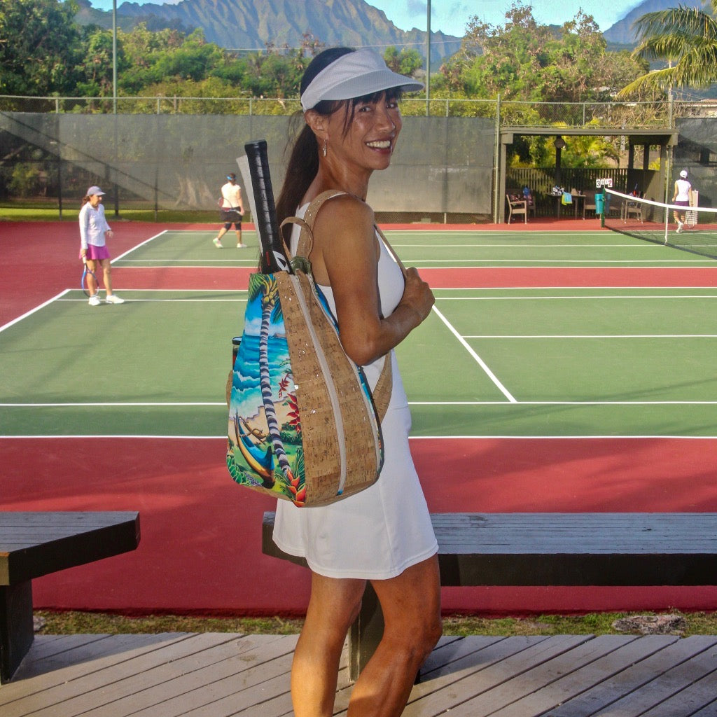'olu'olu by Bliss Hawaii tennis bag with original art from hawaii and cork from portugal