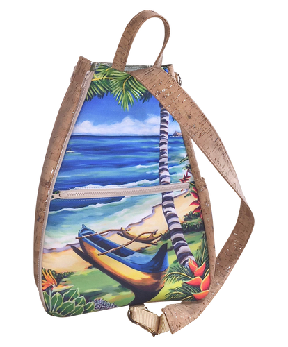bliss collective bags luxury tennis bag with hawaiian art and vegan cork leather fabric