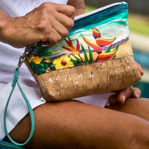 bliss collective bags Bliss Hawaii wristlet pouch with original art, luxury vegan cork