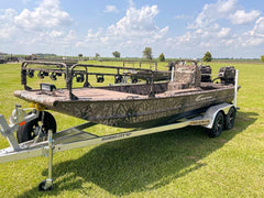 Pro drive mud boat with bowfishing flounder lights