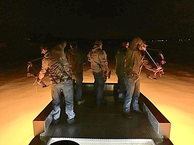 night time bowfishing with bright led lights