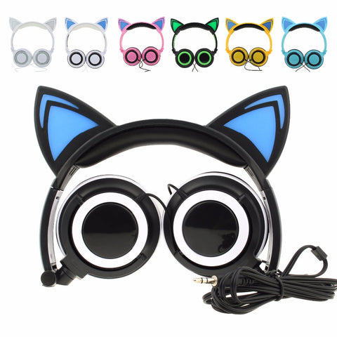 Cat Ear Headphones Foldable Flashing Glowing Wired