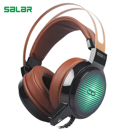 Salar C13 LED Light Wired Gaming Headset Deep Bass With Mic