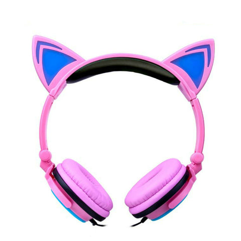 Cat Ear Headphones Foldable Flashing Glowing With LED Light