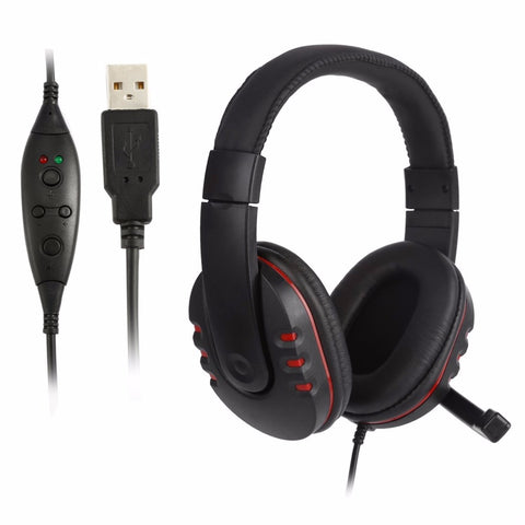Handsfree Mic Headset Leather USB Wired Stereo