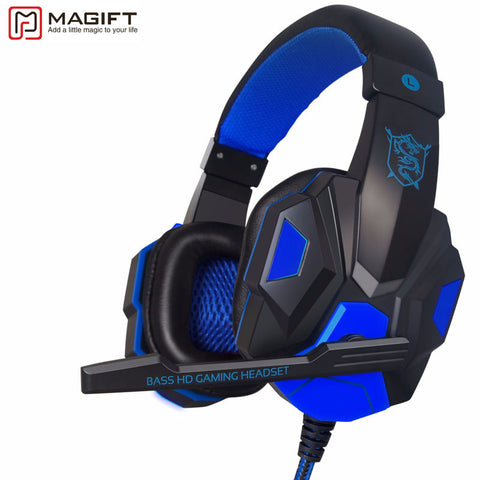 Gaming Headset With LED Light Over Ear Glowing Stereo Headphones With Mic