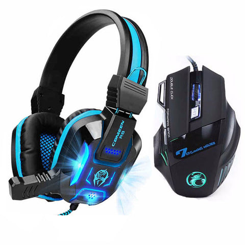 COMBO 7 Buttons 5500 DPI Professional Gaming Mouse+Heavy Bass Games LED Light Gaming Headphone With Mic