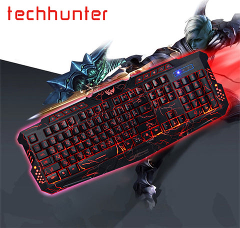 Gaming Keyboard USB Wired Bilingual Russian English LED 3 Modes Techhunter M-200