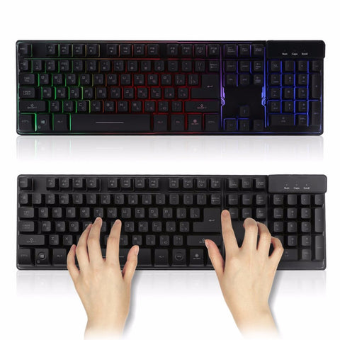 Gaming Keyboard Wired Waterproof 104 Key Russian Version LED USB