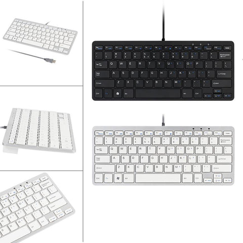 Ultra Thin Keyboard Slim 78 Key Wired USB Mini