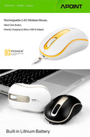 Silent Click Wireless Mini Rechargeable 2.4 GHZ Mouse 1000 DPI Built-In Battery With Charging Cable