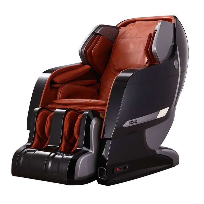 black outside plus caramel leather massage chair
