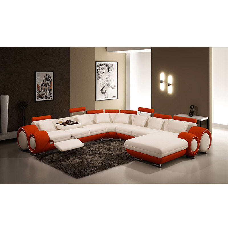 KOK USA 124084 Bonded Leather Sectional Sofa