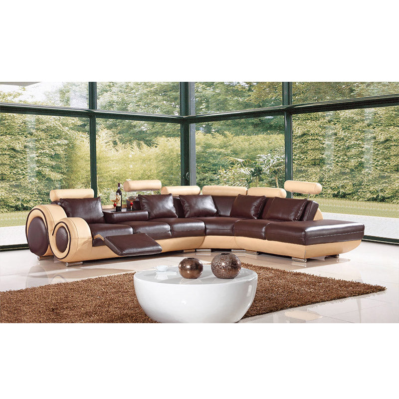 KOK USA 124086 Bonded Leather Sectional Sofa