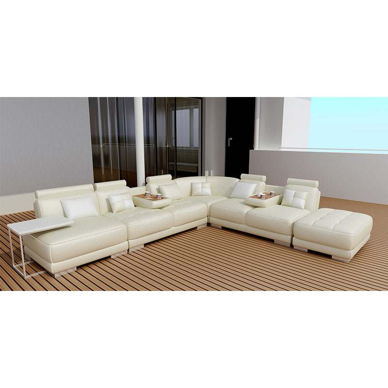 KOK USA 125004 Leather Sectional Sofa + Ottoman